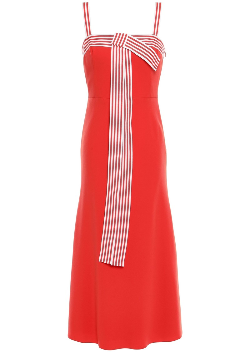 Lela Rose Woman Bow-embellished Striped Stretch-cady Midi Dress Coral