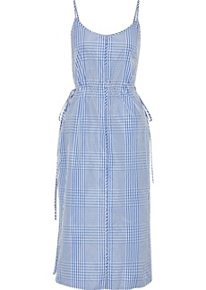 Lela Rose Woman Button-detailed Gingham Coated-poplin Midi Dress Blue
