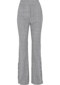 Lela Rose Woman Button-detailed Gingham Wool Bootcut Pants Gray