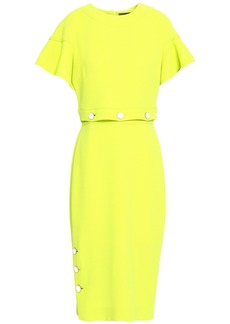 Lela Rose Woman Button-detailed Neon Wool-blend Crepe Midi Dress Bright Yellow