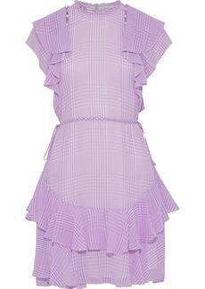 Lela Rose Woman Button-detailed Ruffled Gingham Silk-chiffon Mini Dress Lavender
