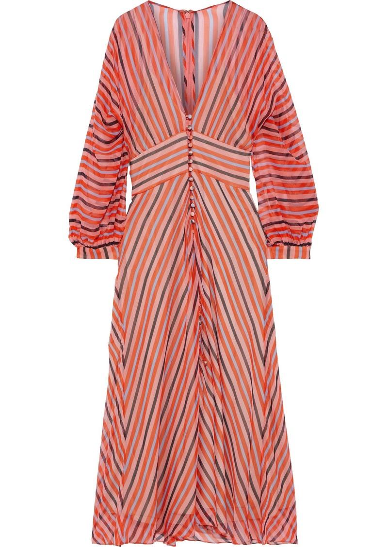 Lela Rose Woman Button-detailed Striped Silk-chiffon Midi Dress Pink