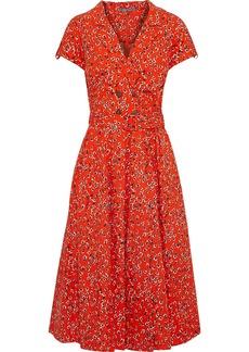 Lela Rose Woman Button-embellished Floral-print Cotton-poplin Midi Dress Tomato Red
