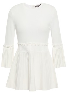 Lela Rose Woman Button-embellished Pleated Ponte Peplum Top Ivory