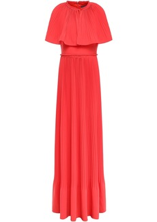 Lela Rose Woman Cape-effect Pleated Crepe Gown Coral