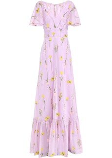 Lela Rose Woman Cape-effect Striped Cotton-blend Floral-jacquard Gown Lilac