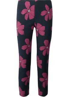 Lela Rose Woman Catherine Cropped Cotton-blend Floral-jacquard Slim-leg Pants Midnight Blue