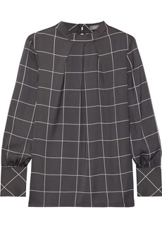 Lela Rose Woman Pleated Checked Crepe De Chine Blouse Anthracite