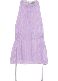 Lela Rose Woman Checked Silk-chiffon Top Lavender