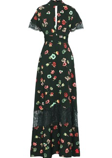 Lela Rose Woman Coated Lace-paneled Cutout Floral-print Crepe De Chine Gown Forest Green