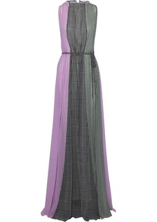 Lela Rose Woman Color-block Gingham Silk-chiffon Gown Dark Gray