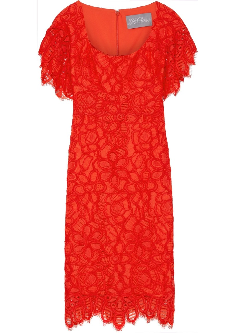 Lela Rose Woman Corded Lace Dress Red