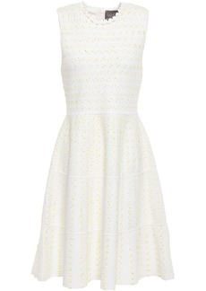 Lela Rose Woman Crochet-trimmed Bouclé-knit Dress White
