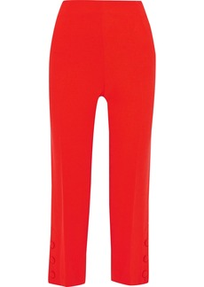 Lela Rose Woman Cropped Button-detailed Wool-blend Crepe Straight-leg Pants Red