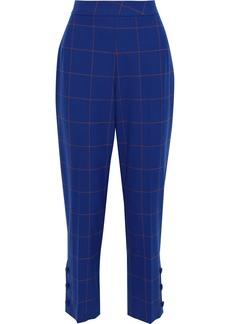 Lela Rose Woman Cropped Checked Jacquard Straight-leg Pants Royal Blue