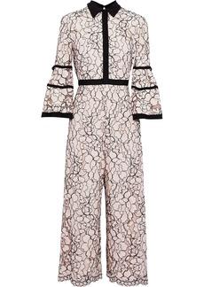 Lela Rose Woman Cropped Corded Lace Jumpsuit Pastel Pink