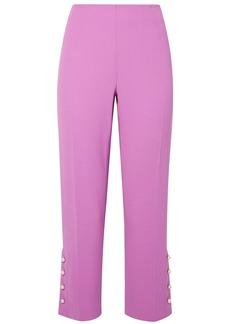 Lela Rose Woman Cropped Faux Pearl-embellished Wool-blend Crepe Straight-leg Pants Lavender