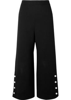 Lela Rose Woman Cropped Faux Pearl-embellished Wool-blend Crepe Wide-leg Pants Black