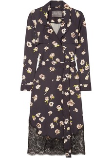 Lela Rose Woman Double-breasted Lace-trimmed Floral-print Crepe Midi Wrap Dress Midnight Blue
