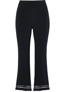 Lela Rose Woman Embellished Crepe Flared Pants Black