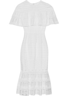 Lela Rose Woman Cape-effect Guipure Lace Midi Dress White