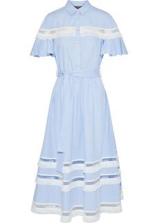 Lela Rose Woman Embellished Striped Cotton-poplin Midi Shirt Dress Light Blue