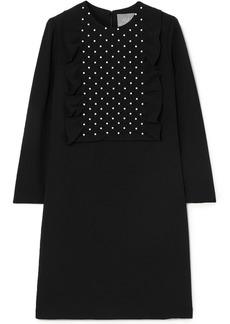 Lela Rose Woman Faux Pearl-embellished Smocked Crepe Dress Black