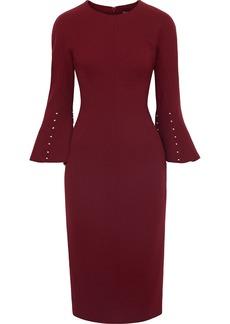 Lela Rose Woman Faux Pearl-embellished Wool-blend Crepe Dress Burgundy