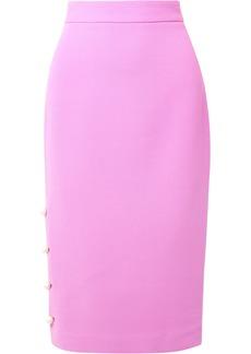 Lela Rose Woman Faux Pearl-embellished Wool-blend Crepe Pencil Skirt Lavender