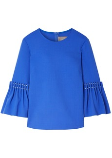 Lela Rose Woman Faux Pearl-embellished Wool-blend Crepe Top Cobalt Blue