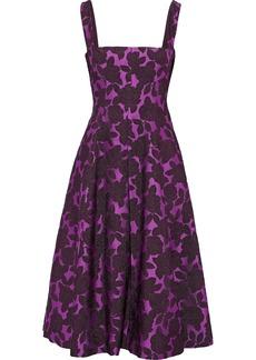 Lela Rose Woman Flared Brocade Midi Dress Violet