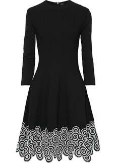 Lela Rose Woman Flared Guipure Lace-paneled Ponte Dress Black