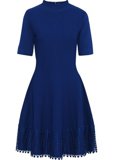 Lela Rose Woman Flared Guipure Lace-trimmed Stretch-knit Dress Royal Blue