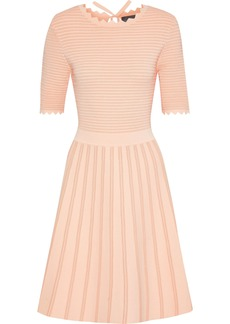 Lela Rose Woman Neon Flared Stretch-knit Dress Blush