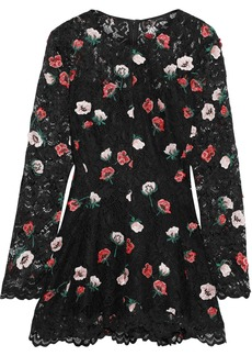 Lela Rose Woman Floral-appliquéd Corded Lace Top Black