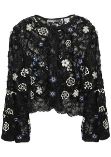 Lela Rose Woman Floral-appliquéd Embroidered Chantilly Lace Bolero Black