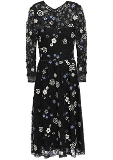 Lela Rose Woman Floral-appliquéd Embroidered Chantilly Lace Dress Black