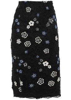 Lela Rose Woman Appliquéd Embroidered Lace Skirt Black