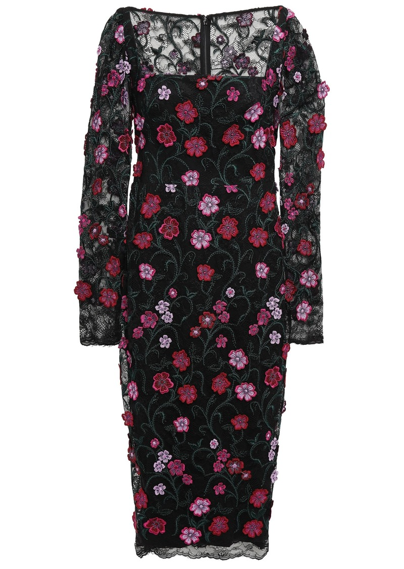 Lela Rose Woman Floral-appliquéd Lace Midi Dress Black