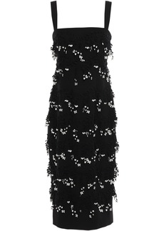 Lela Rose Woman Floral-appliquéd Wool-blend Crepe Midi Dress Black