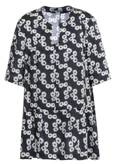Lela Rose Woman Floral-print Twill Peplum Top Midnight Blue