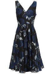 Lela Rose Woman Fluted Metallic Brocade Dress Navy