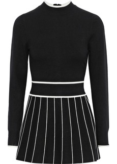 Lela Rose Woman Fluted Stretch-knit Top Black
