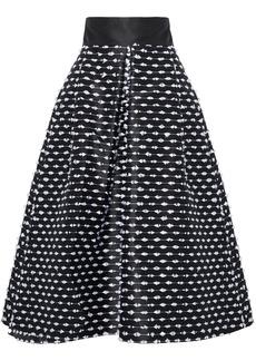 Lela Rose Woman Frayed Duchesse-satin Midi Skirt Black