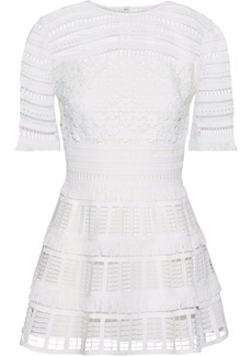 Lela Rose Woman Fringed Guipure Lace Peplum Top White