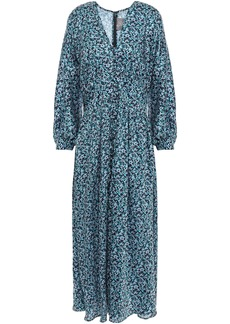 Lela Rose Woman Gathered Floral-print Twill Midi Dress Cobalt Blue