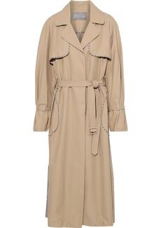 Lela Rose Woman Gingham Wool-trimmed Cotton-blend Gabardine Trench Coat Light Brown