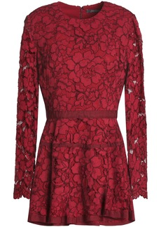 Lela Rose Woman Grosgrain-trimmed Corded Lace Peplum Top Crimson