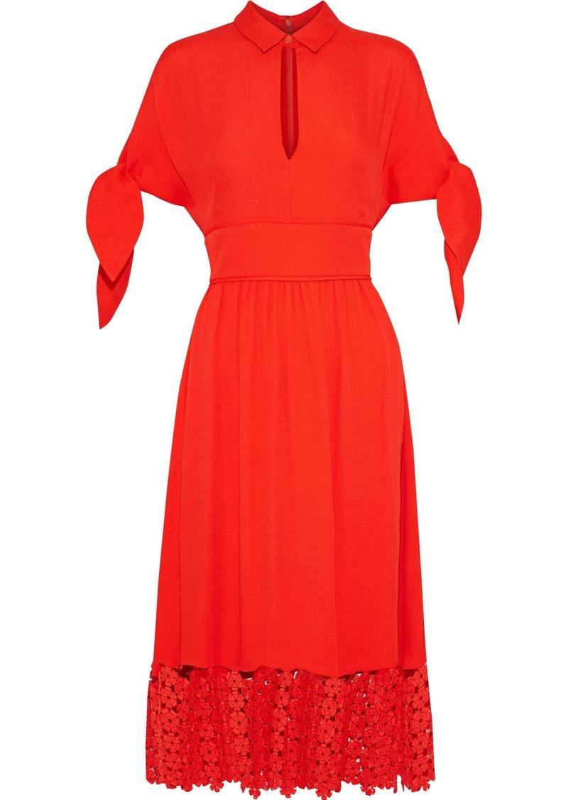 Lela Rose Woman Guipure Lace-paneled Cloqué Midi Dress Tomato Red