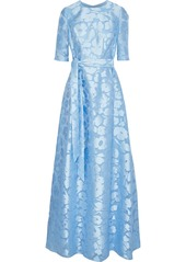 Lela Rose Woman Holly Belted Fil Coupé Gown Sky Blue